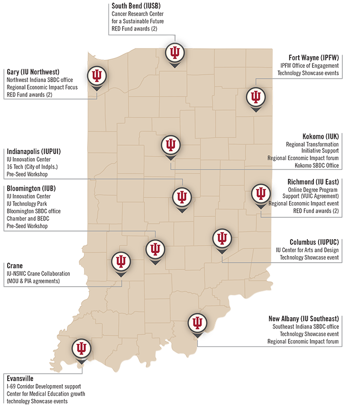 This is a map of Indiana with pinpoints in the different resource centers located around the state.